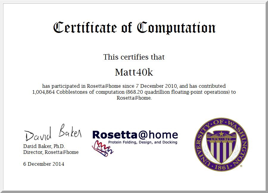4th Anniversary of contributing to Rosetta@Home · Matt40k Rosetta@home